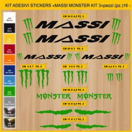 KIT ADESIVI STICKERS BICI MASSI MONSTER KIT3 - 16 PEZZI