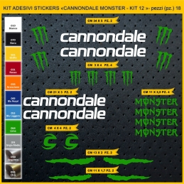 KIT ADESIVI STICKERS BICI CANNONDALE MONSTER- KIT 12 - 18 PEZZI