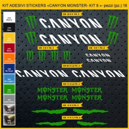 KIT ADESIVI STICKERS BICI CANYON MONSTER - KIT 8 - 18 PEZZI