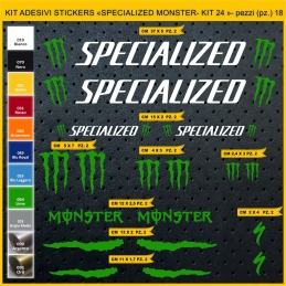 KIT ADESIVI STICKERS BICI SPECIALIZED MONSTER - KIT 25- 18 PEZZI
