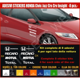 Kit Adesivi Stickers HONDA Civic Jazz Crx Crv Insight S2000 - KIT COMPLETO-