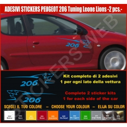 Kit Adesivi Stickers PEUGEOT 206 Leone Lion - KIT COMPLETO-