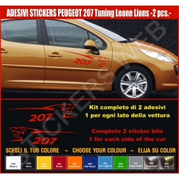 Kit Adesivi Stickers PEUGEOT 207 Leone Lion - KIT COMPLETO-