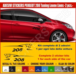 Kit Adesivi Stickers PEUGEOT 208 Leone Lion - KIT COMPLETO-