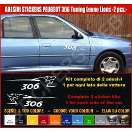 Kit Adesivi Stickers PEUGEOT 306 Leone Lion - KIT COMPLETO-