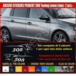 Kit Adesivi Stickers PEUGEOT 308 Leone Lion - KIT COMPLETO-